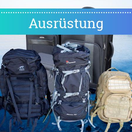 Ausrüstung wie Koffer, Rucksäcke, Reisepackliste
