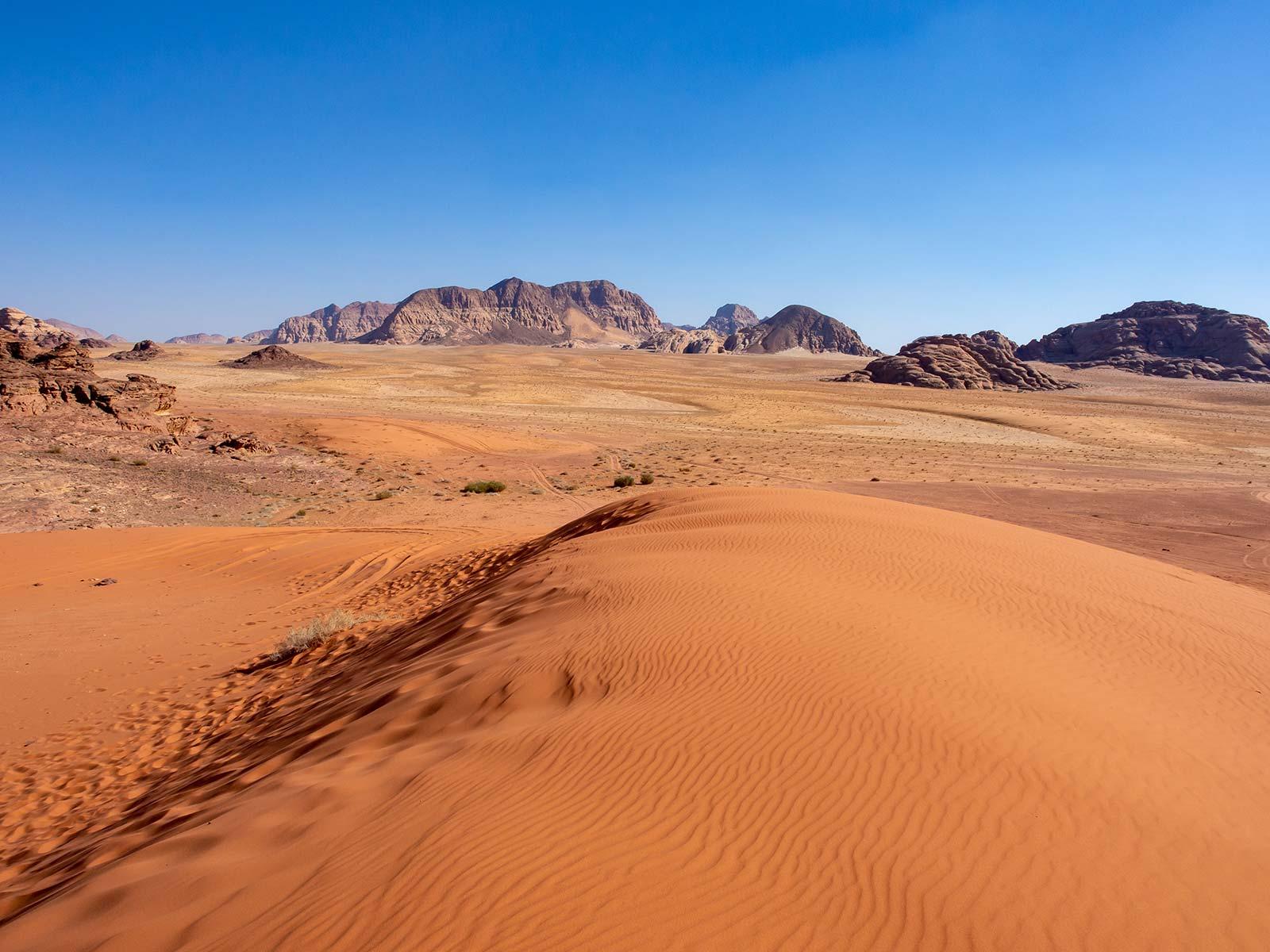 Rote Sanddünen in Wadi Rum